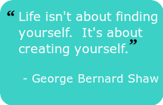 quote-Life isn't about finding yourself.  It's about creating yourself. - George Bernard Shaw