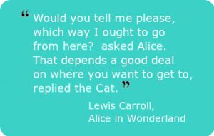 """Would you tell me please, which way I ought to go from here?"" asked Alice. ""That depends a good deal on where you want to get to,"" replied the Cat. - Lewis Carroll, Alice in Wonderland"