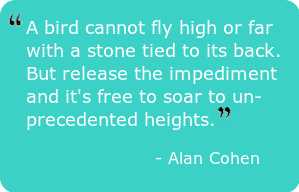 A bird cannot fly high or far with a stone tied to its back. But release the impediment and it's free to soar to unprecedented heights. – Alan Cohen